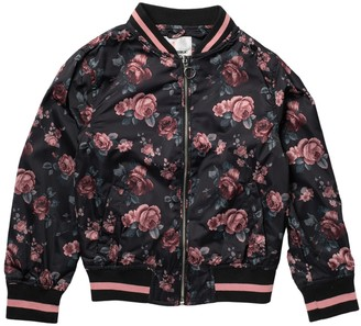 Urban Republic Floral Satin Bomber Jacket (Big Girls)