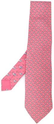 Hermes Silk Deer And Lion Print Tie