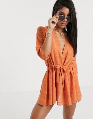 South Beach Sheer Utility Dress-Brown