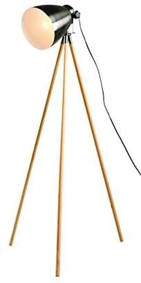 Village At Home Directors Floor Lamp, Metal, E27, Wood/Gunmetal