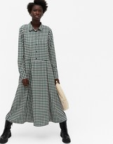 Thumbnail for your product : Monki Ada gingham print midi shirt dress in green