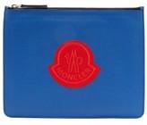 Moncler Logo-patch Leather Pouch - Mens - Blue