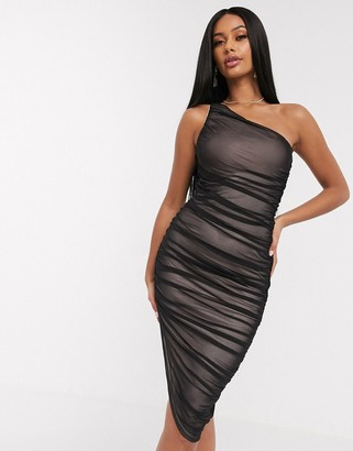 Asos Design DESIGN one shoulder ruched mesh bodycon midi dress with contrast lining