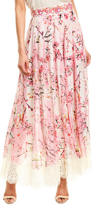 Rococo Sand Claret Silk Chiffon Maxi Skirt