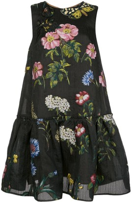 Oscar de la Renta Floral Jacquard Shift Dress