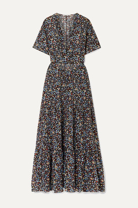 Stella McCartney Tiered Printed Cotton And Silk-blend Maxi Dress - Black