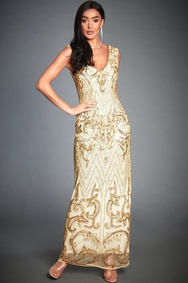Jywal London Angie Gold Embellished Evening Cocktail Dress