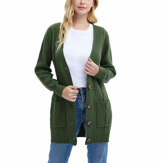 SwissWell Women Long Sleeve Open Front Buttons Cable Knit Pocket Sweater Cardigan Green