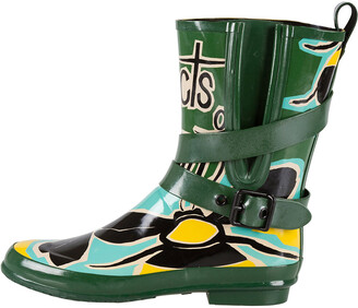 Burberry Multicolor Insects of Britain Rubber Belted Rainboots Size 37
