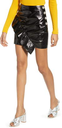 Topshop Ruffle Faux Leather Miniskirt
