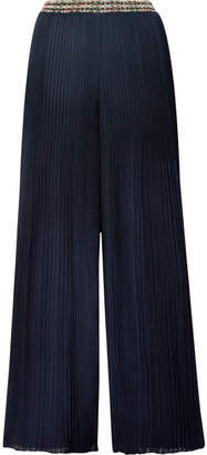 Missoni Intarsia-trimmed Ribbed-knit Wide-leg Pants - Midnight blue