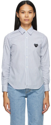 Comme des Garcons White and Blue Striped Heart Patch Shirt