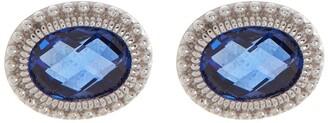 Judith Ripka Sanibel Silver Oval Stud Earrings