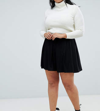 Asos DESIGN Curve mini skirt with box pleats-Black