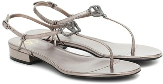 Valentino VLOGO Glow metallic leather sandals