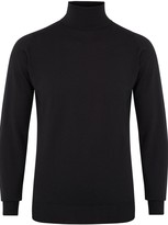 John Smedley Belvoir Black Fine-knit Merino Wool Jumper