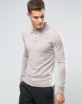 Reiss Button Up Knitted Polo