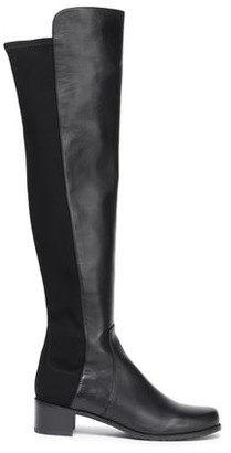Stuart Weitzman Stretch Knit-paneled Leather Over-the-knee Boots