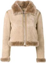 Balenciaga Bombadier velour jacket - women - Fox Fur/Leather - 34