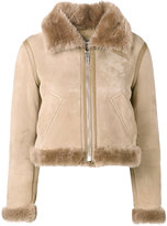 Balenciaga Bombadier velour jacket - women - Fox Fur/Leather - 36