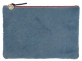 Clare Vivier Supreme Flat Clutch In Aegean Hair-On