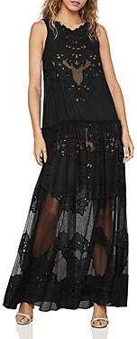 BCBGMAXAZRIA Chiffon Lace Tiered Gown