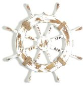 Bed Bath & Beyond White Ship Wheel Wooden Wall Plaque