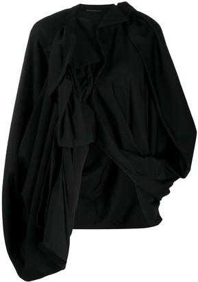 Yohji Yamamoto Oversized Asymmetric-Hem Wool Jacket