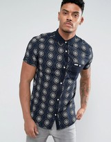 Soul Star Solid Placket Print Shirt