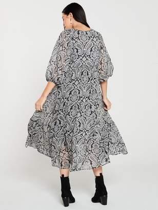 MANGO Paisley Print Midaxi Dress - Black