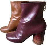 Maison Margiela Burgundy Leather Ankle boots