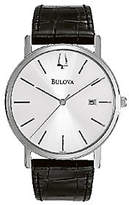 Bulova Men's Stainless Steel Black Leather Strap Watch