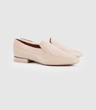 Reiss NINA LEATHER SLIP ON LOAFERS Truffle
