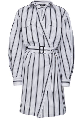 Derek Lam Belted Striped Cotton-Poplin Dress