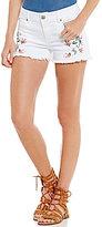 Celebrity Pink Floral-Embroidered Frayed-Hem Stretch Cutoff Denim Shorts