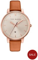 Ted Baker Silver Dial Tan Leather Strap Mens Watch
