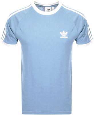 adidas 3 Stripe T Shirt Blue