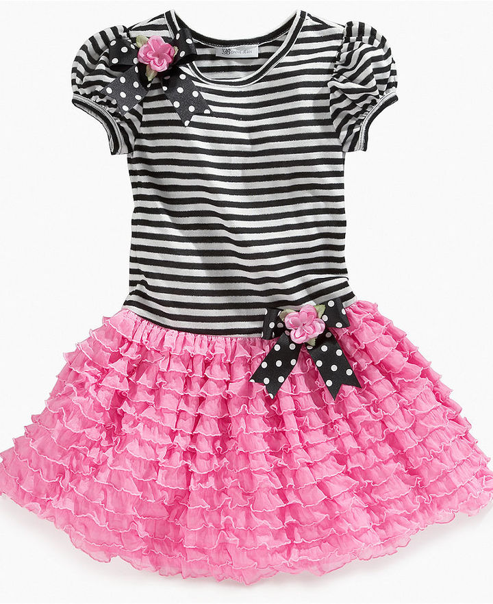 Bonnie Jean Girls Dress, Little Girls Striped Tutu Dress