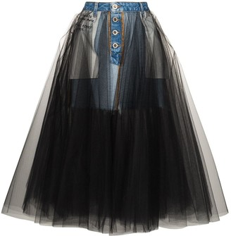 Unravel Project reverse-style denim tulle skirt