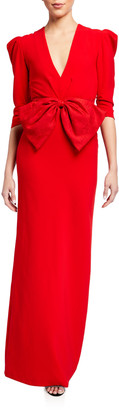 Sachin + Babi Chelsea V-Neck 3/4 Mutton-Sleeve Bow-Front Gown
