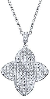 Crislu Silver & Platinum Cz Clover Necklace