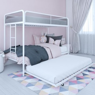 DHP Ezra Triple Twin Bunk Bed, Metal Bunk Beds for Kids, White