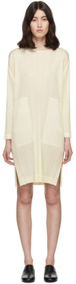 Pleats Please Issey Miyake Off-White Pleats Side-Vent Dress