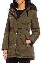 KARL LAGERFELD PARIS Karl Lagerfeld Paris Faux-Fur Hooded Trim Soft Shell Down Storm Puffer Coat