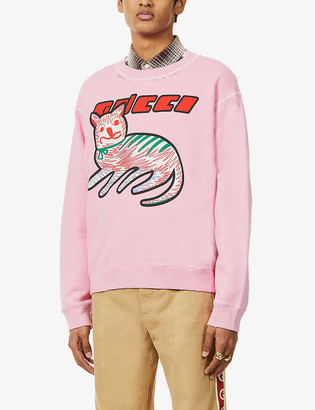 Gucci Graphic-print relaxed-fit cotton-jersey sweatshirt