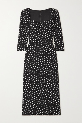 Dolce & Gabbana Polka-dot Cady Midi Dress - Black