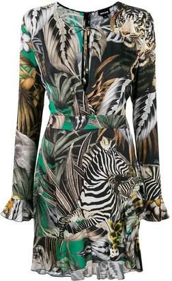 Just Cavalli multi-print ruffle trimmed dress