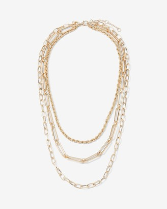 Express Three Row Rope Oval & Paperclip Chain Necklace