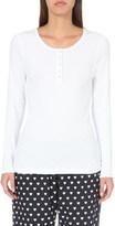 The White Company Scalloped-trim jersey pyjama top