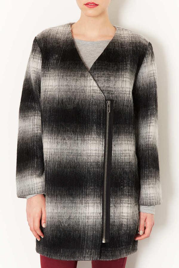 Topshop Furry Check Biker Coat